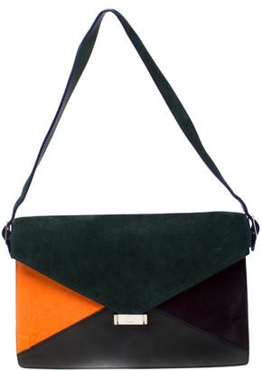 Celine Multicolor Suede, Calfhair and Leather Diamond Clutch Bag