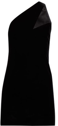 Saint Laurent Asymmetric Strap Velvet Mini Dress - Womens - Black