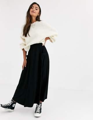 Asos Design DESIGN midi skirt with pockets-Black