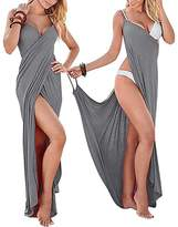 Aoqueen Fashion Women Spaghetti Strap Backless Wrap Long BeachDress Swimsuit Cover Up