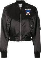 Moschino Robot bear patch bomber jacket - women - Polyamide/Polyester/Polyurethane/Virgin Wool - 40