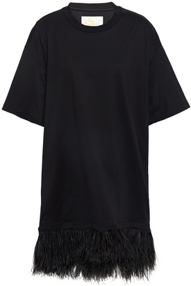 Marques Almeida Oversized Feather-embellished Cotton-jersey T-shirt