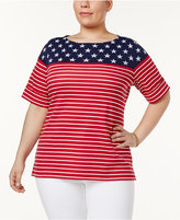 Karen Scott Plus Size Stars & Stripes Top, Created for Macy's
