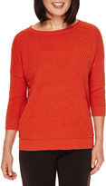 Sag Harbor Artful Animal 3/4-Sleeve Chevron-Stitch Sweater