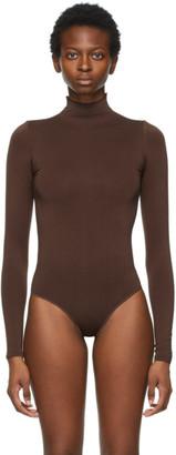 SKIMS Brown Essential Mock Neck Long Sleeve Bodysuit