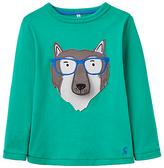 Joules Little Joule Boys' Chomp Wolf T-Shirt, Green