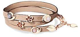 Tamara Comolli Women's Loopy 18K Rose Gold & Moonstone Embossed Leather Wrap Bracelet