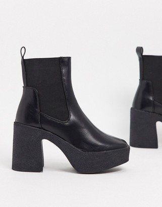 Public Desire Trooper chunky heeled chelsea boots in black