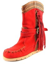 Mojo Moxy Nomad Mid Calf Women Round Toe Suede Red Mid Calf Boot.