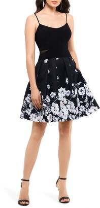 Xscape Evenings Mesh Inset Print Pleated Party Dress