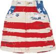 marc jacobs embroidered distressed denim mini skirt