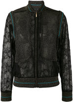 Elie Saab lace panel bomber jacket - women - Nylon/Polyester/Viscose - 38