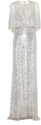 Monique Lhuillier Embroidered Metallic Capelet Tulle Gown