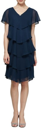 Slny Georgette Tiered Chiffon Dress