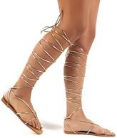Public Desire Natalia Rose PU Lace Up Flat Sandals