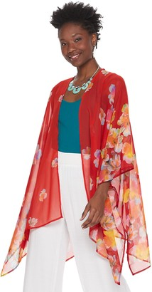 Nina Leonard Women's Floral Open-Front Kimono