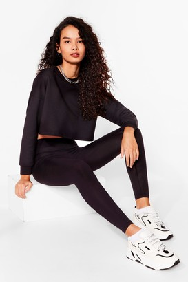 Nasty Gal Womens Take a Break Cropped Sweatshirt and Leggings Set - Black