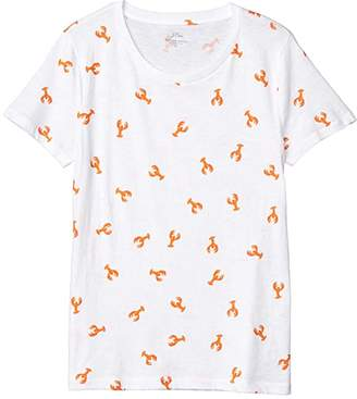 J.Crew Vintage Cotton All Over Lobster T-Shirt (Ivory Bright Persimmon) Women's Clothing