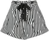 Self-Portrait lace up front striped shorts