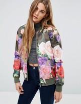 Brave Soul Floral Camo Print Bomber Jacket
