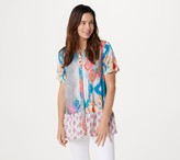 Tolani Collection Regular Printed Button Front Woven Tunic