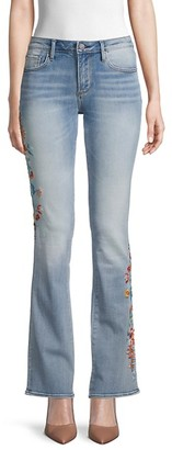Driftwood Floral Embroidered Flared Jeans