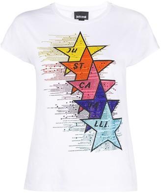 Just Cavalli logo star print T-shirt
