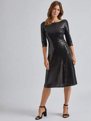 Dorothy Perkins Sequin Midi Dress - Black