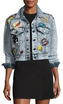 Alice + Olivia Chloe Cropped Denim Jacket with Patches, Light Blue