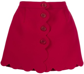 RED Valentino High-Waisted Scalloped Shorts