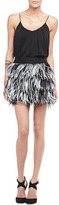 Milly Tiered Ostrich-Feather Miniskirt