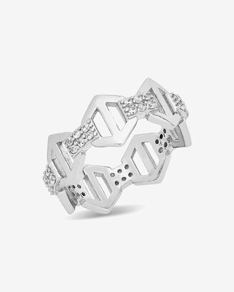 Express Sterling Forever Hexagon Anchor Chain Ring