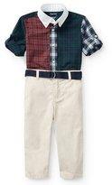 Ralph Lauren Poplin Tartan Shirt & Pants Set, Navy, Size 9-24 Months