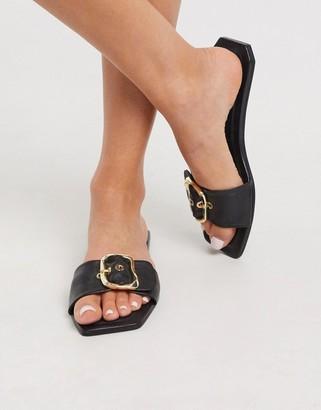 ASOS DESIGN Floral premium statement leather mule sandals in black