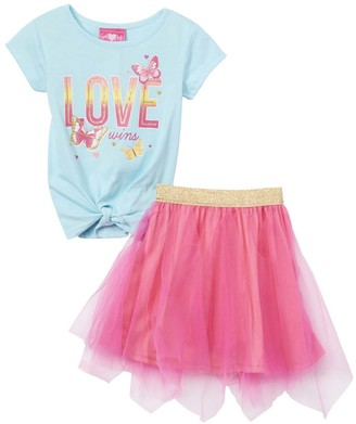 Girls Luv Pink Girls' Casual Skirts mint - Mint 'Love Wins' Butterfly Tee & Pink Tutu - Toddler & Girls