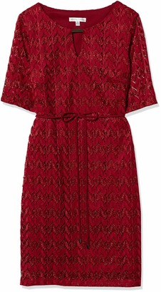 Sandra Darren Women's 1 Pc Elbow Sleeve Belted Knit Dress with Lurex