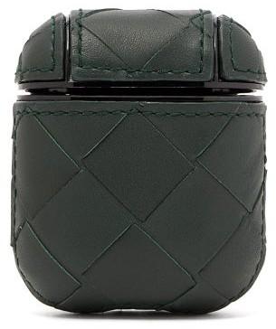 Bottega Veneta Intrecciato Leather Earphones Case - Dark Green