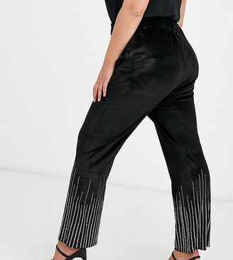 Fashion Union Plus velvet pants coord with rhinestone scattered trim-Black