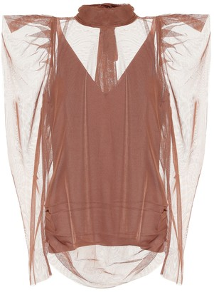 Ruffled sheer blouse