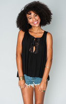 MUMU Teeny Tassel Tank Top ~ Black Cloud