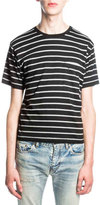 Saint Laurent Striped Jersey T-Shirt, Black/Gray