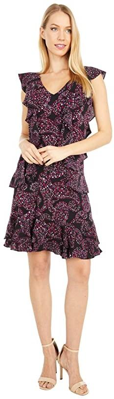 MICHAEL Michael Kors Floral Pop Cascade Dress (Azalea) Women's Dress