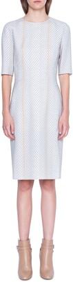Akris Tweed Print Wool Blend Sheath Dress