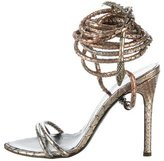 Roberto Cavalli Snakeskin Wrap-Around Sandals