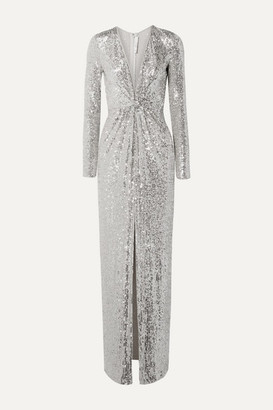 Naeem Khan Sequined Tulle Gown - Silver