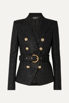 Balmain Double-breasted Belted Metallic Wool-blend Tweed Blazer - Black