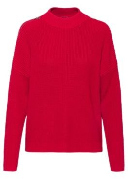 HUGO BOSS Chunky Knit Sweater With Shoulder Zips In Organic Cotton - Red