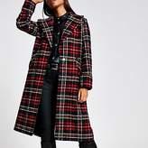 River Island Red tartan check longline coat
