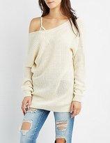 Charlotte Russe Shaker Stitch Open Back Sweater