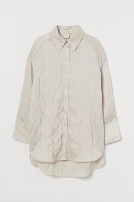 H&M Oversized Satin Shirt - Beige